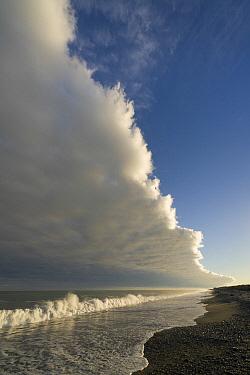 Stratus cloud over beach, Gillespies Beach, South Island, New Zealand