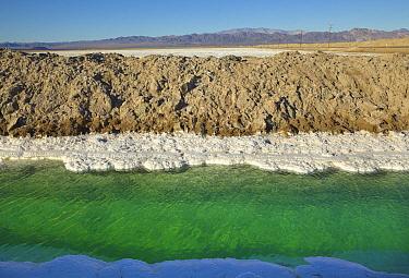 Salt evaporation canal for bleach production, Mojave Desert, Nevada