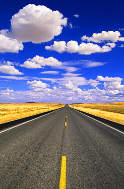Highway crossing grasslands with cumulus clouds, Wyoming