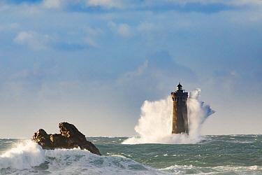Wave hitting Porspoder lighthouse, Bretagne, France