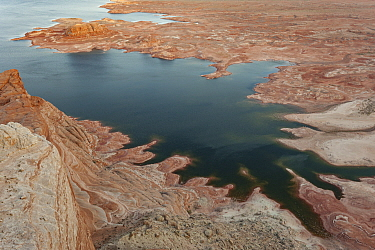 Reservoir with low water levels due to drought, Alstrom Point, Lake Powell, Glen Canyon National Recreation Area, Utah