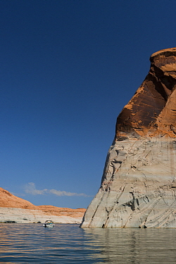 Reservoir with low water due to drought, Lake Powell, Glen Canyon National Recreation Area, Utah