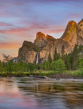 Twilight on Bridalveil Falls and Merced River, Yosemite National Park, California