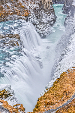 Waterfall in winter, Golden Circle, Iceland