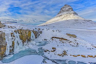 Waterfall and mountain in winter, Grundarfjordur, Iceland