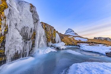 Frozen waterfall and mountain, Grundarfjordur, Iceland