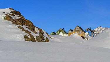 Village in snow, Kulusuk, Iceland