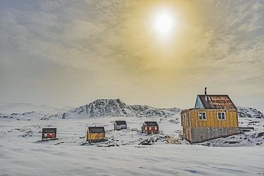 Village at sunset, Kulusuk, Iceland