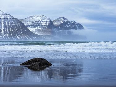 Beach and coastal mountains, Hornvik Bay, Hornstrandir Nature Reserve, Iceland