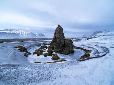Pinnacle rock formation in winter, Hornvik Bay, Hornstrandir Nature Reserve, Iceland