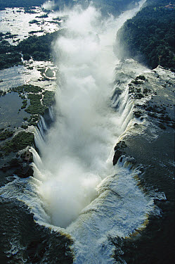 Aerial view over the Iguacu Falls, world's largest waterfalls and the largest tourist attraction in the Atlantic Forest ecosystem, Brazil and Argentina border  -  Mark Moffett