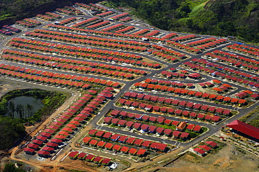 Aerial of low income housing development at the east edge of Panama City  -  Christian Ziegler
