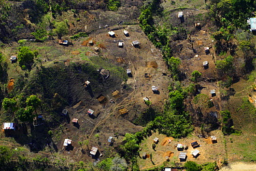Aerial of east of Panama City, people dwell in simple housings on recently logged land  -  Christian Ziegler