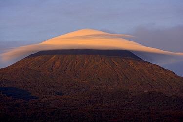 Karisimbi (4507 meters) stratovolcano, with lenticular cloud, east Africa rift valley, Rwanda  -  Ingo Arndt