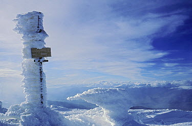 Ice accumulated on the side of a sign post on the summit of Pico Puigmal, Pyrenees, Spain  -  Albert Lleal