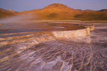 Sinter terrace at El Tatio Geyser Field at 4,200 meters above sea level, Argentina  -  Theo Allofs