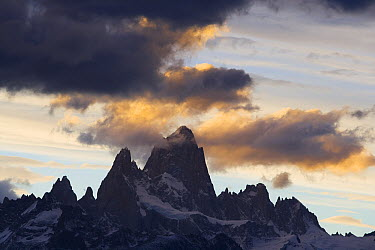 Mount Fitzroy Range under dramatic clouds at sunset, Argentina  -  Theo Allofs