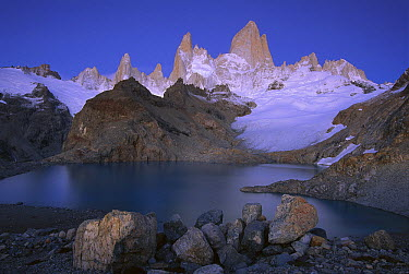 High granite spires, Lago de los Tres and Cerro Fitzroy, Los Glaciares National Park, Argentina  -  Theo Allofs