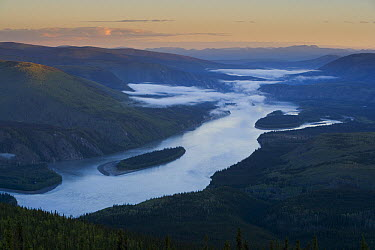 View onto Yukon River near Dawson City from Midnight Dome, Yukon, Canada  -  Theo Allofs