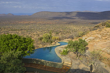 Arid landscape and swimming pool at Saruni Lodge, Kalama Wildlife Conservancy, Kenya  -  Suzi Eszterhas