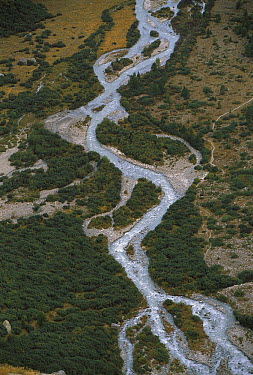 River flowing down Furka Pass, a high mountain pass in the swiss alps, Switzerland  -  Thomas Marent