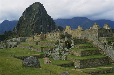 Tourists at ruins of Machu Picchu, 9000 feet up in tropical rainforest, Peru  -  Thomas Marent