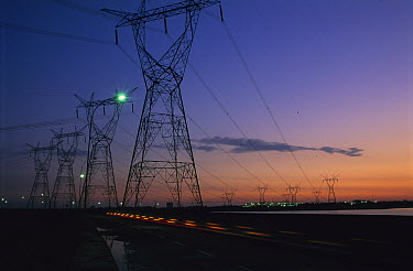 Electricity pylons and power lines from Itaipu Dam, Brazil  -  Luciano Candisani