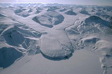Aerial view of converging glacier, Ellesmere Island, Nunavut, Canada  -  Jim Brandenburg