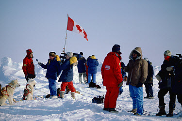 Will Steger being interviewed by television news crew upon arrival to the North Pole, Arctic  -  Jim Brandenburg