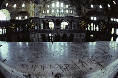 Viking graffiti scars a balustrade in Hagia Sophia, a former church which is now a museum, Istanbul, Turkey  -  Jim Brandenburg