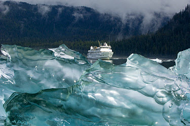 Cruise ship behind blue iceberg, southeast Alaska  -  Flip  Nicklin