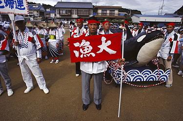 Oldest living harpooner at whale festival, Japan  -  Flip Nicklin