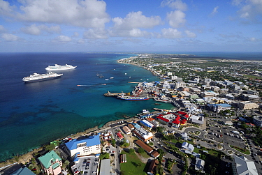 View from helicopter over George Town, Grand Cayman, Caribb ean Sea  -  Hans Leijnse/ NiS