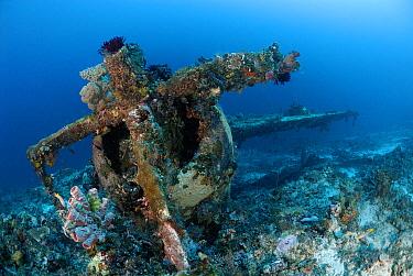 Underwater remains of crashed airplane, Indonesia  -  Hans Leijnse/ NiS