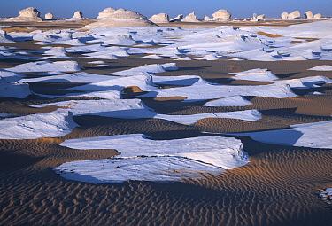 Limestone rocks in sand, White Desert National Park, Libyan Desert, Egypt  -  Stephen Belcher