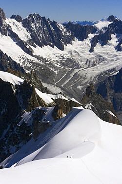 Mountaineers in landscape, Chamonix, France  -  Jasper Doest