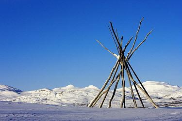 Traditional sami tent called a kota, Abisko, Sweden  -  Jasper Doest