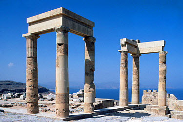 Greece Colonade, Acropolis, Lindos, Rhodes  -  David Hosking/ FLPA