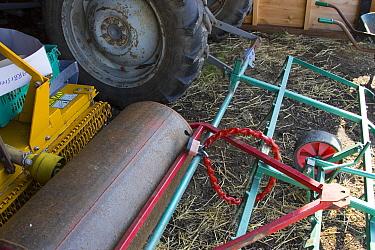 Padlock used to secure farm equipment, Suffolk, England  -  David Hosking/ FLPA