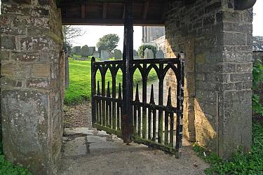 Swinging Gate and Lych-gate, St. Nectan's Church, Stoke, Devon, England  -  Michael Rose/ FLPA