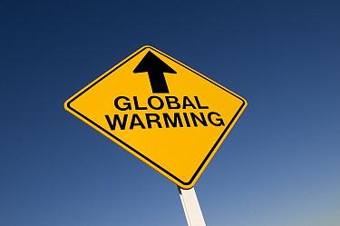 Global Warming' sign, England  -  David Burton/ FLPA