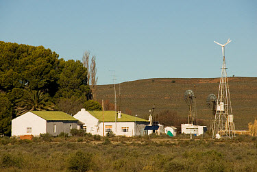 Farmstead using alternative power sources, wind turbine and solar panels, Bitterwater, Great Karoo, South Africa  -  Chris and Tilde Stuart/ FLPA