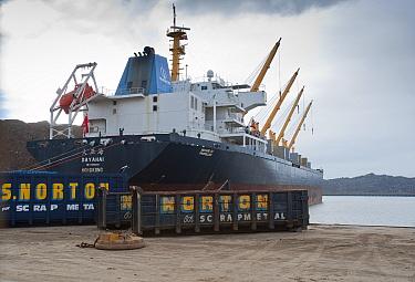 Dayahai' bulker ship (from Hong Kong, China) being loaded with scrap metal, Liverpool Docks, Liverpool, Merseyside, England  -  John Eveson/ FLPA