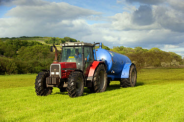 Massey Ferguson tractor, slurry spreading with vacuum tanker on grass, England, june  -  Wayne Hutchinson/ FLPA