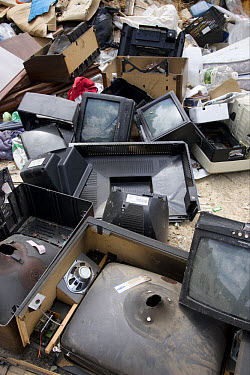 Pile of old televisions on dump, Spain, may  -  Angela Hampton/ FLPA