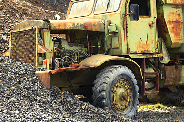 Abandoned tipper lorry in quarry, Powys, Wales, august  -  Richard Becker/ FLPA