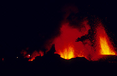 Volcanic eruption, with erupting lava and town buildings silhouetted, Eldfell Volcano, Heimaey, Westmann Isles, Iceland,  -  S Jonasson/ FLPA