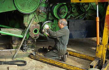 Farmer repairing combine harvester clutch at harvest time, West Sussex, England, august  -  John Veltom/ FLPA