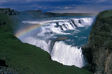 Gullfoss (English: Golden Falls) is a waterfall located in the canyon of Hvt river in southwest Iceland  -  David Hosking/ FLPA
