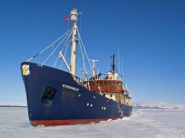 Stockholm' icebreaker in pack ice, Svalbard, june  -  Jules Cox/ FLPA